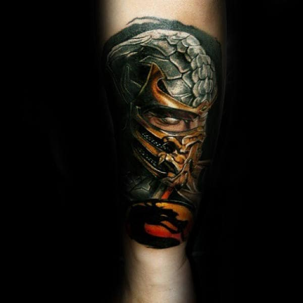 Mortal Kombat Symbol With Character Mens Forearm Tattoo Sleeve