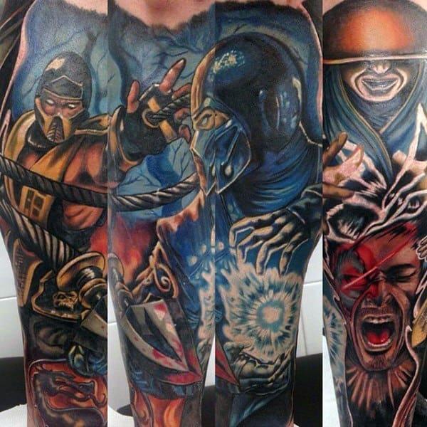 Mortal Kombat Themed Mens Sleeve Tattoo Designs