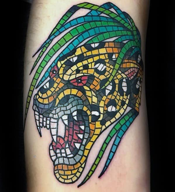 Mosaic Mens Tattoo Designs Leopard On Arm
