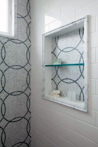 Mosaic Pattern Tiles Nice Shower Niche Interior Ideas
