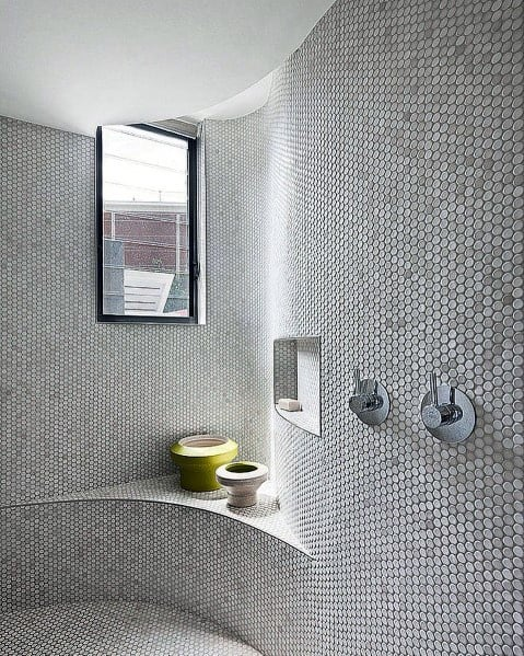 Mosaic Tile Shower Designs With Bench