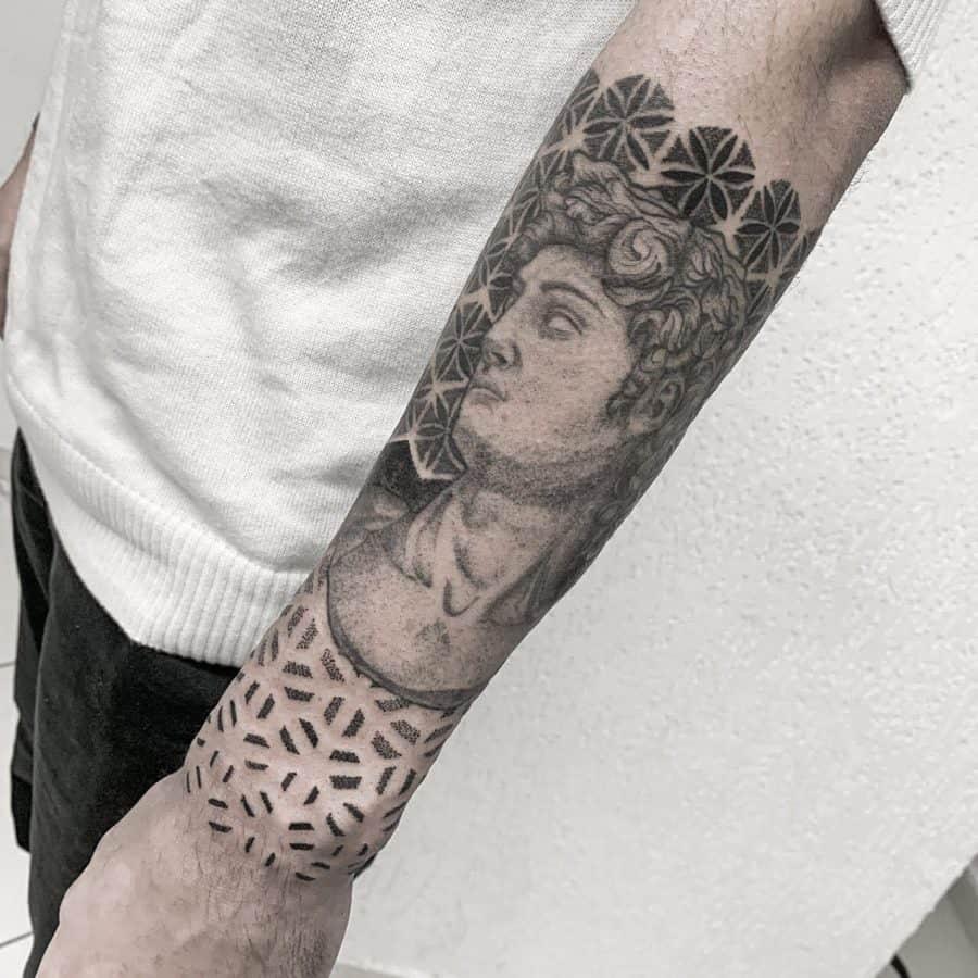 Mosaic Tiles Framing Brilliant Greco Classical Statue Dotwork Geometric Tattoo