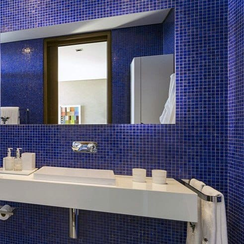 Mosaic Tiles Good Ideas For Modern Blue Bathroom