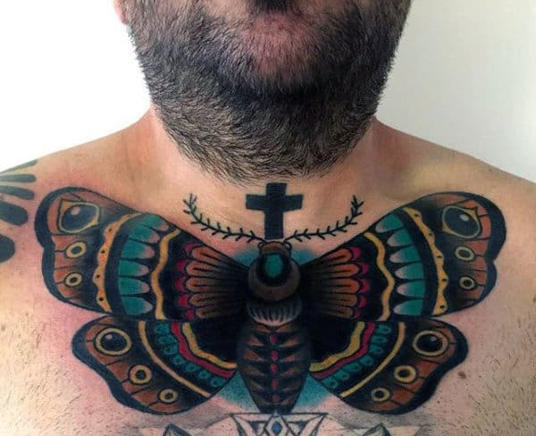 Moth With Cross Mens Colorful Upper Chest Tattoos