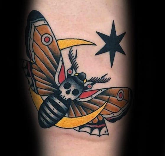 Moth With Moon Mens Traditional Arm Tattoos
