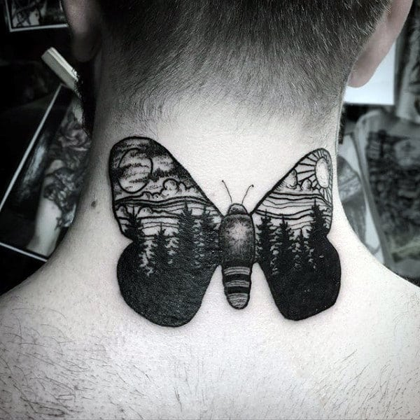 Moth With Nature Landscape Mens Back Of Neck Tattoos