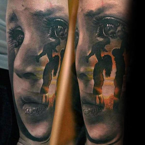 Mother And Child Hyper Realistic Guys Forearm Tattoo