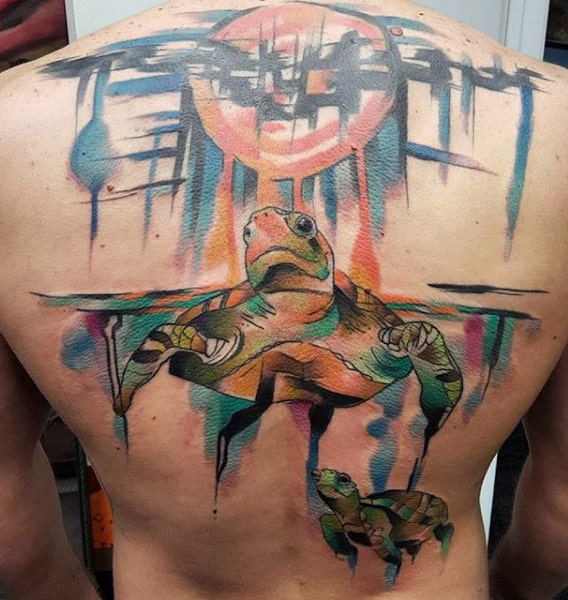 Mother And Child Turtle Watercolor Tattoo On Back For Men