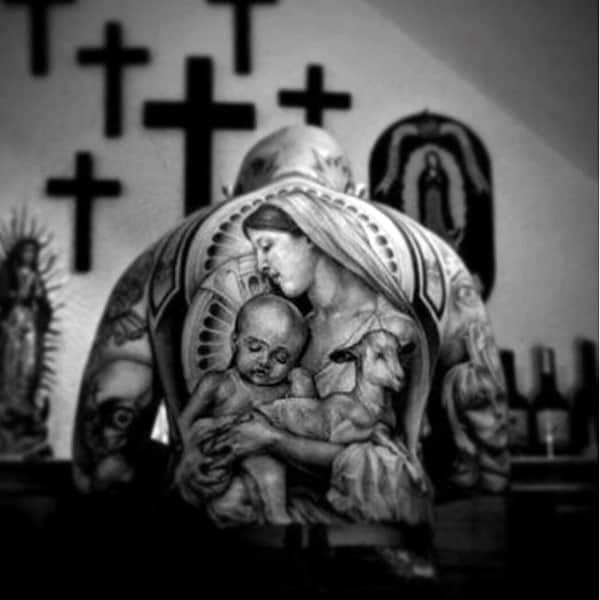 Mother And Lamb With Baby Religious Tattoo Male Full Back