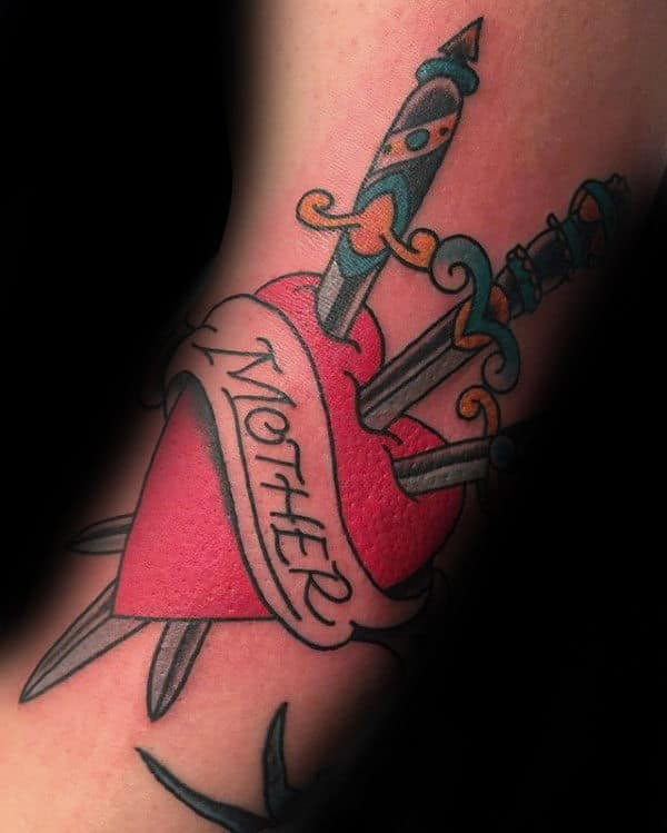 Mother Dagger Heart Male Traditional Tattoos On Arm