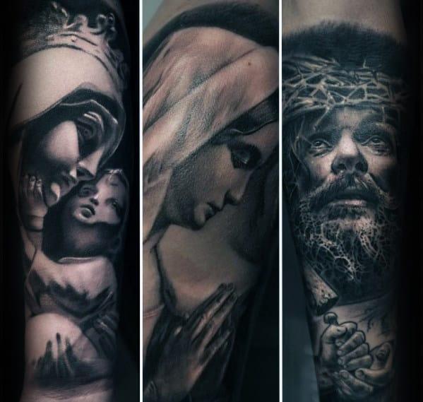 Tattoo Designs Mama Mary: 50 Jesus Forearm Tattoo Designs For Men