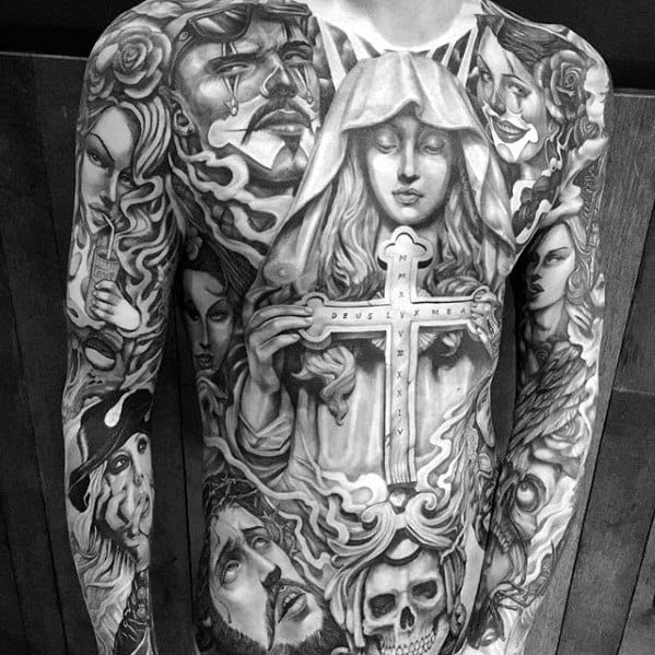 Mother Mary Holding Cross Mens Badass Chicano Chest Tattoos