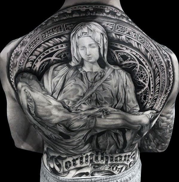 Mother Mary Holding Jesus In Arms Guys Ornate Back Tattoo