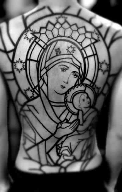 Mother Mary Mens Christian Stained Glass Full Back Tattoo