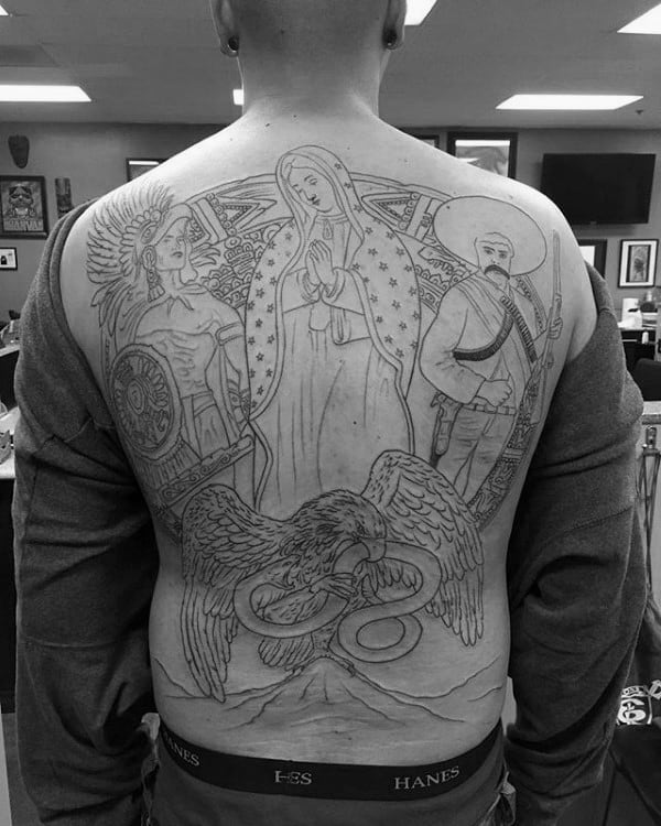 Mother Mary Mexican Eagle Guys Full Back Black Ink Outline Tattoos