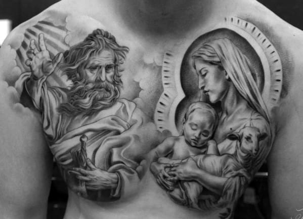 40 jesus chest tattoo designs for men chris ink ideas for Religious chest tattoos
