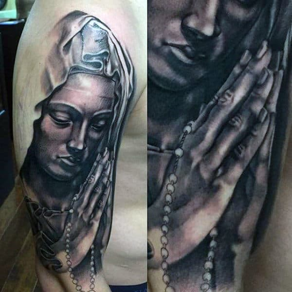Mother Of God Praying With Rosary Guys Mary Arm Tattoo