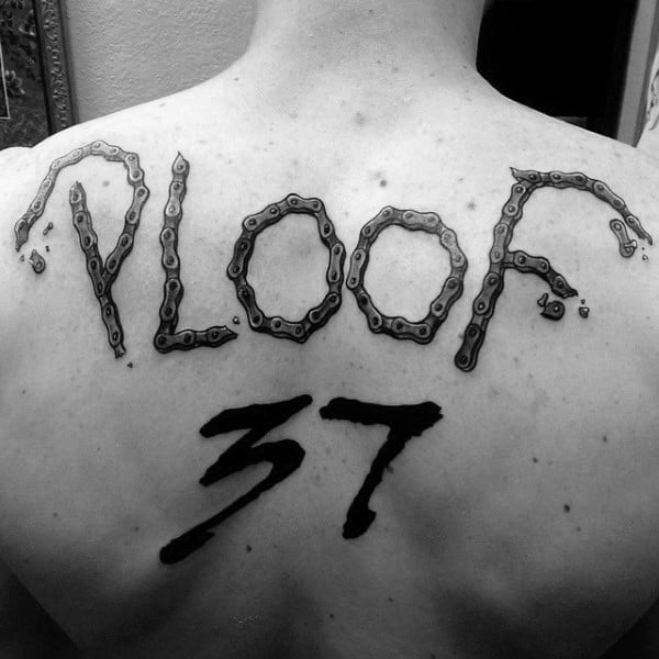 Motocross Chain Back Tattoo With Racing Number For Men