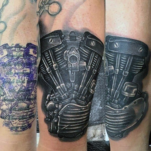Motorcycle Engine Forearm Cover Up Tattoos For Men