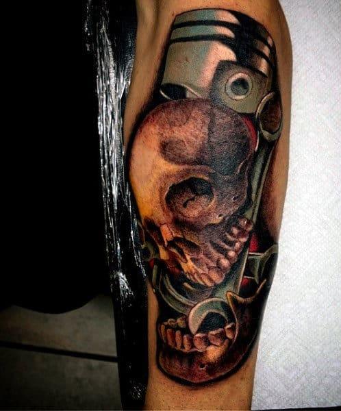 Motorcycle Piston Engine Tattoos On Men