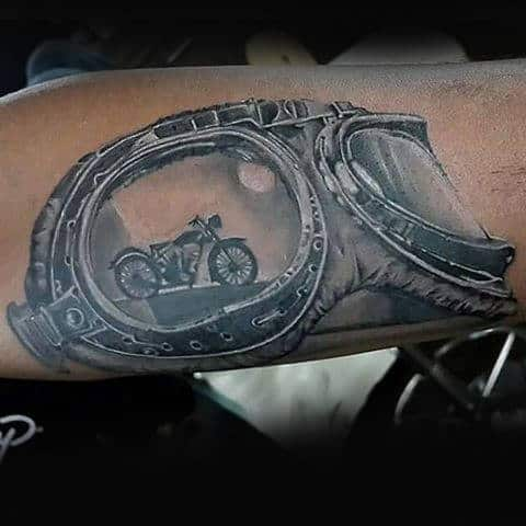 Motorcycle Riding Goggles Biker Male Tattoo On Forearm