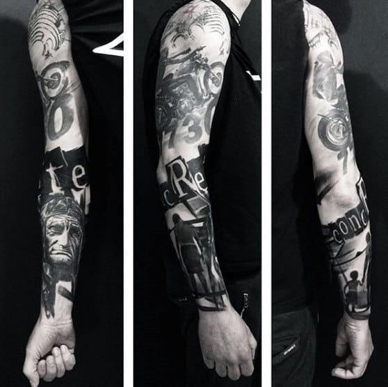 Motorcycle Themed Mens Harley Davidson Full Sleeve Tattoo