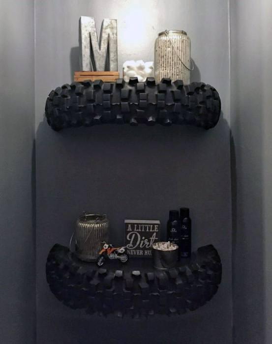 Motorcycle Tire Shelf Cheap Man Cave Ideas