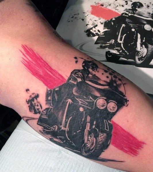 Motorcycle Trash Polka Mens Inner Arm Tattoo Ideas