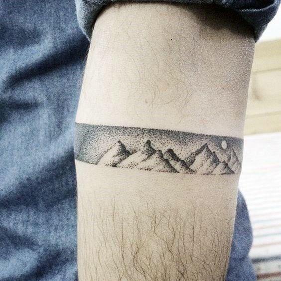 Mountain Armband Pointillism Tattoo For Men