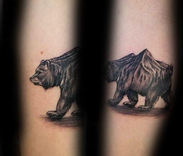 Mountain California Bear Mens Small Arm Tattoo