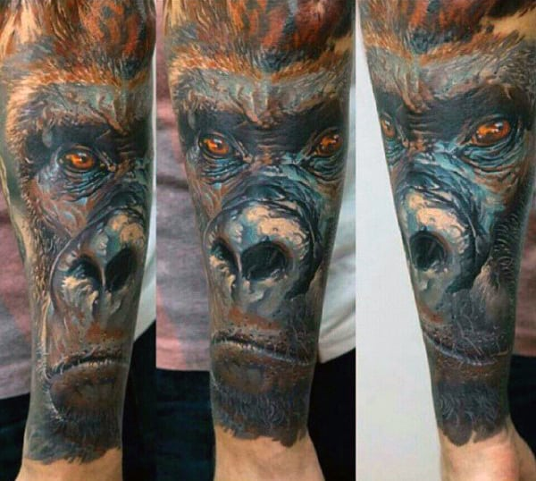 Mountain Gorilla Design Tattoo On Man Full Sleeve