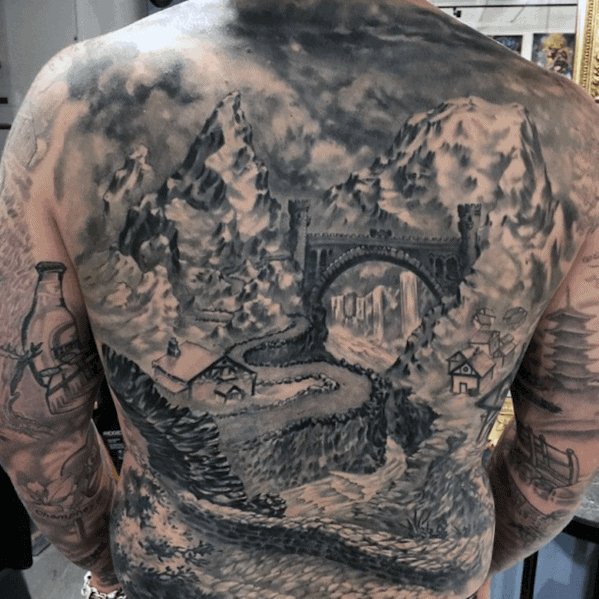 Mountain Landscape With Bridge Cool Mens Back Tattoos