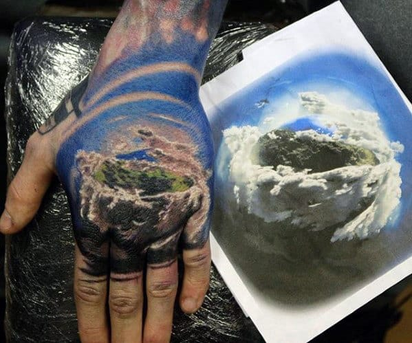 Mountain Landscape With Clouds Guys 3d Hand Tattoo