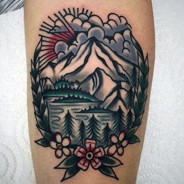 Mountain Landscape With Flowers Mens Traditional Forearm Tattoo