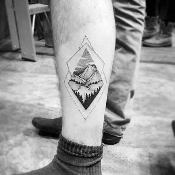 Mountain Landscape With Trees Mens Small Geometric Leg Tattoo