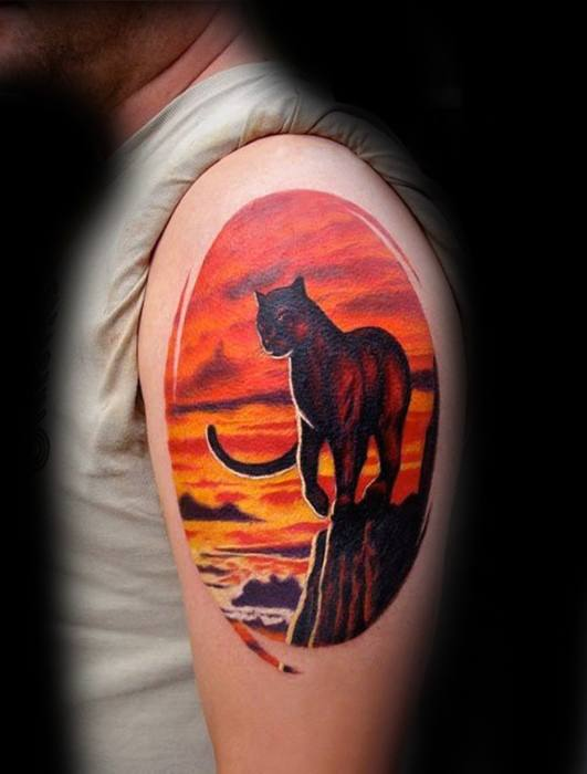 Mountain Lion Arm 3d Tattoos For Gentlemen