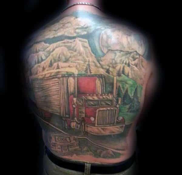 Mountain Scene Semi Truck On The Road Mens Full Back Tattoos