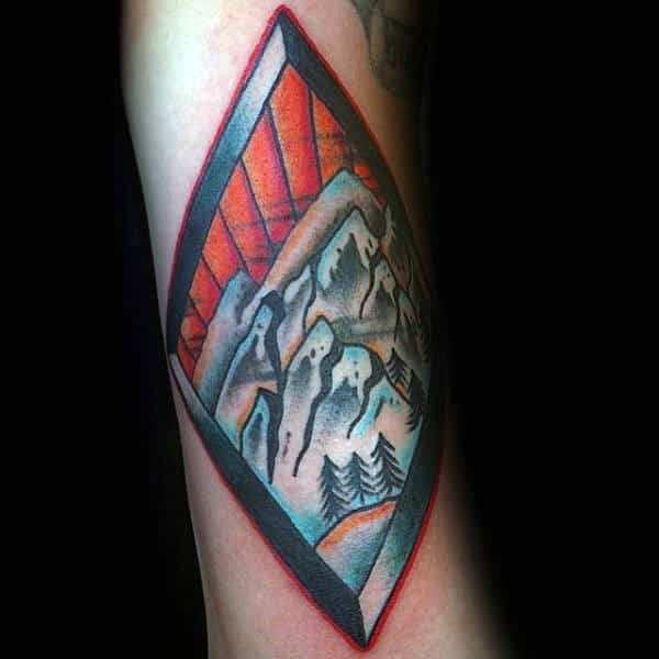 Mountain Skiing Guys Forearm Tattoo Inspiration