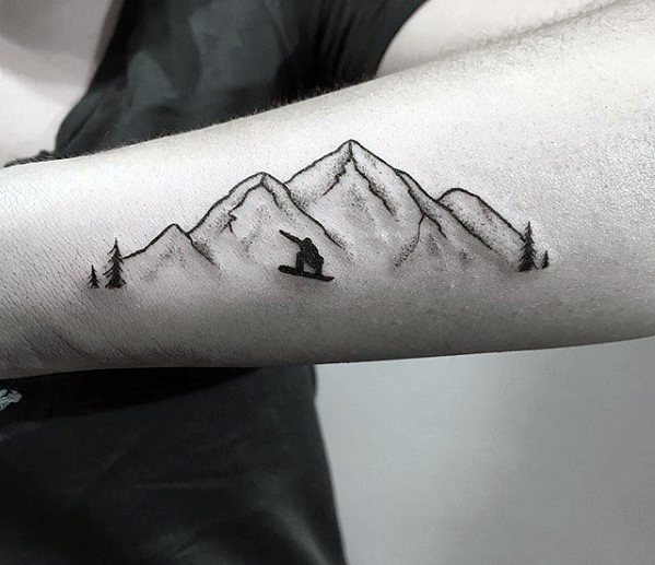 Mountain Snowboarding Sports Guys Tattoo Ideas