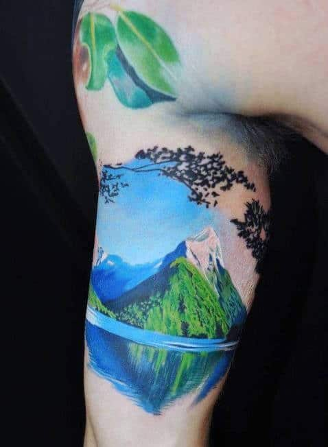 Mountain Tattoo Inspiration For Men On Bicep
