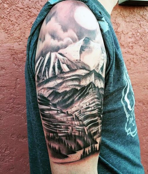 Mountain Tattoos Designs For Men On Arm Half Sleeve