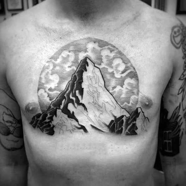 Mountain Top Clouds Guys Chest Tattoo