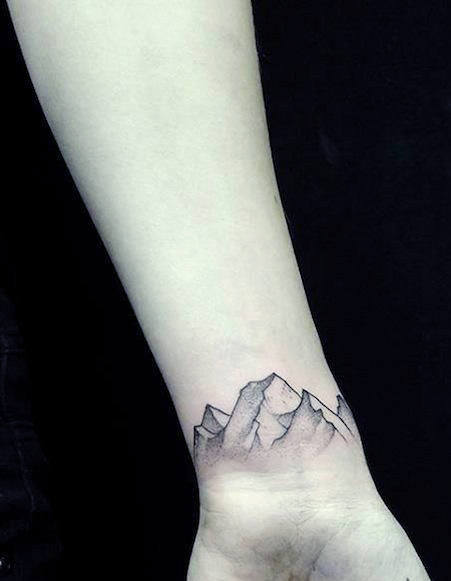 Mountain Top Men Wrist Tattoo
