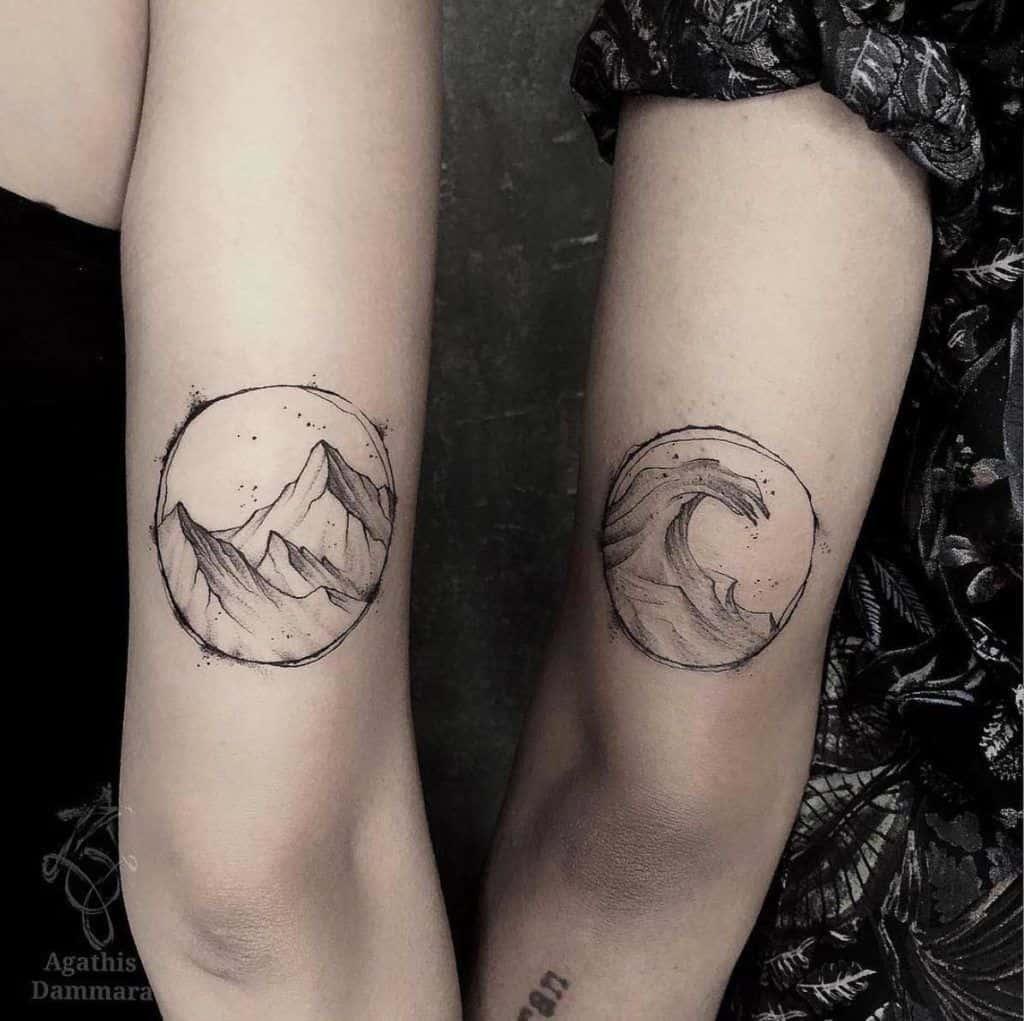 Mountain Wave Friendship Tattoo