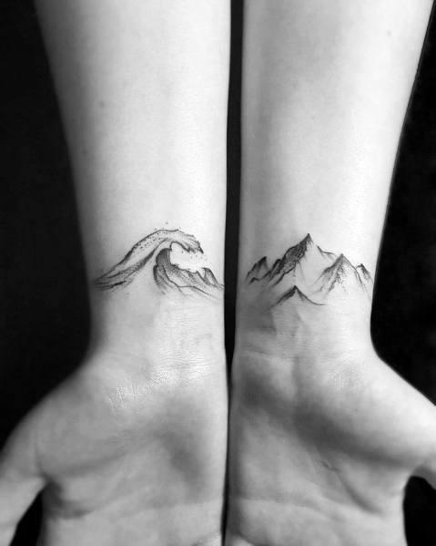 Mountain Wave Tattoos For Gentlemen