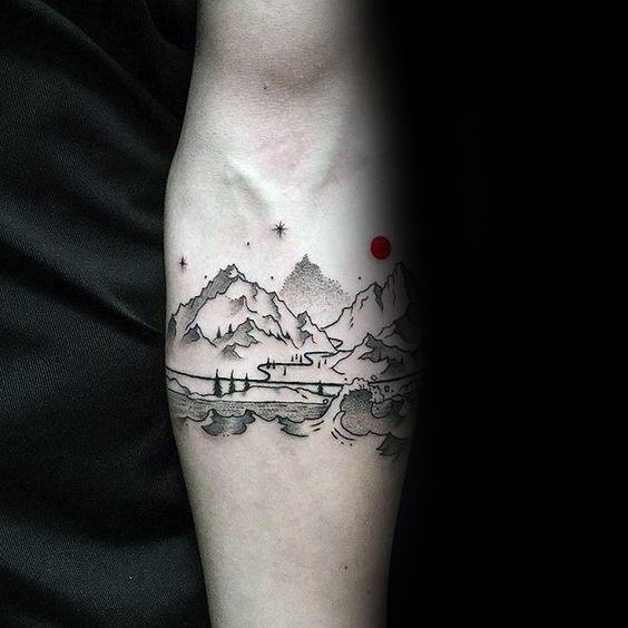 Mountain Wave Themed Tattoo Ideas For Men