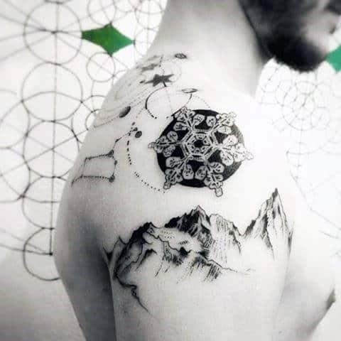 Mountain With Circular Snowflake Shoulder Tattoo
