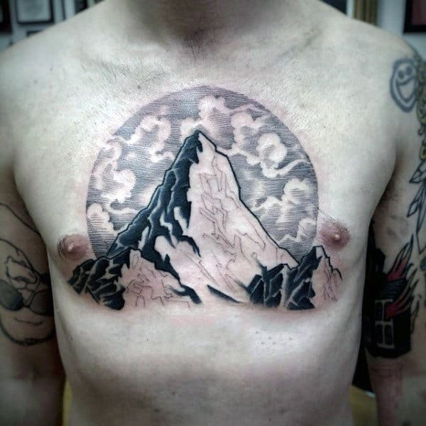 Mountain With Clouds Awesome Upper Chest Tattoo On Gentleman