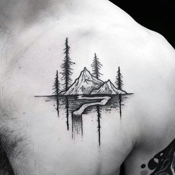Mountain With Nature Landscape Awesome Small Male Chest Tattoo