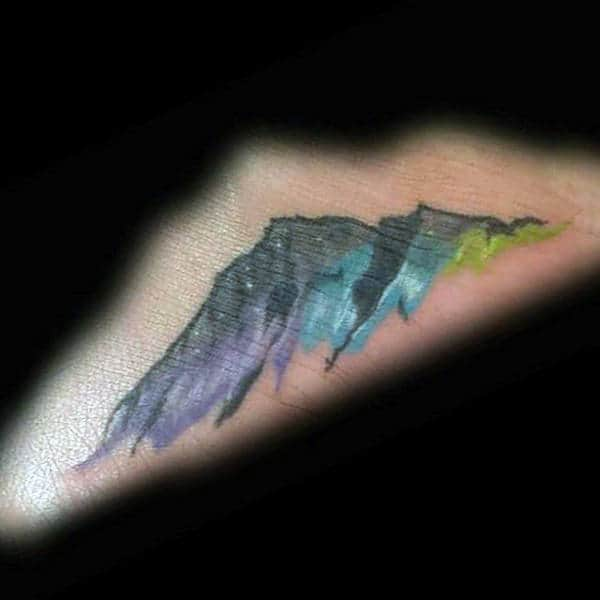 Mountain With Northern Lights Colors Tattoo Designs For Men